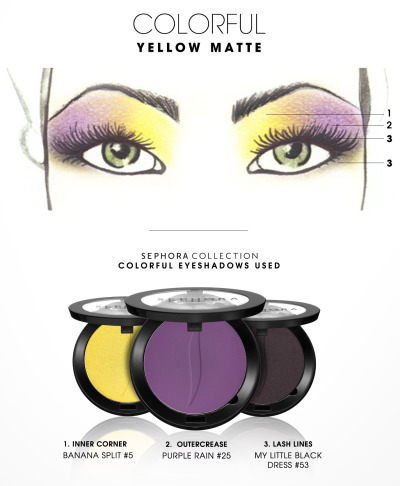 sephora:  MAKING FACES: YELLOW MATTE Four steps to amazing eyes from our Sephora PRO Artistry Team. STEP ONE Apply eye primer to clean, bare lids. STEP TWO Using SEPHORA COLLECTION Pro Shadow Brush #14, apply Banana Split (#5) all over the inner half of the lid, blending up to brow. STEP THREE Blend Purple Rain (#25) on the outer corner of lid and fade out toward outer lid with SEPHORA COLLECTION Pro Blending Brush #27. STEP FOUR With SEPHORA COLLECTION Pro Shader Brush #18, line lower lash line with My Little Black Dress (#53).  Sephora Collection / Colorful Eyeshadow in Banana Split$13.00  Sephora Collection / Colorful Eyeshadow in Purple Rain$13.00  Sephora Collection / Colorful Eyeshadow in My Little Black Dress$13.00  Sephora Collection / Pro Shadow Brush #14$20.00  Sephora Collection / Pro Blending Brush #27$20.00  Sephora Collection / Pro Shader Brush #18$17.00