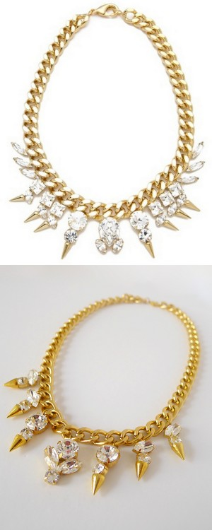 truebluemeandyou:  DIY Fallon Inspired Spiked Crystal Biker Choker Tutorial from Thanks, I Made It here. Erin spent $25 on her DIY but she used gorgeous Swarovski Crystals and it shows. There are some blogs I love for certain things - and Erin has the some of the best jewelry DIY tutorials that are always ahead of most other blogs. She knows jewelry construction inside and out. Top Photo: $325 Fallon Classique Biker Choker here, Bottom Photo: DIY by Thanks, I Made It. For more DIYs from Thanks, I Made It that I've posted go here: truebluemeandyou.tumblr.com/tagged/thanks-i-made-it and for more knockoffs go here:truebluemeandyou.tumblr.com/tagged/knockoff