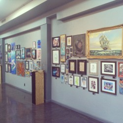"Walls are filled tonight over 80 pieces for the""out to sea"" show come on down drinks and food on the house! At Ink and Pistons Tattoo, west palm #tattoo #artshow"