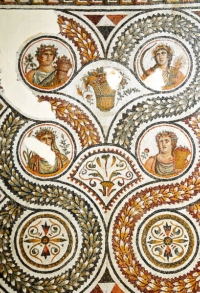 mythologyrules:  The four calendar seasons, depicted in an ancient Roman mosaic from Tunisia