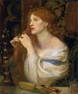pre-raphaelisme:  Aurelia (Fazio's Mistress) by Dante Gabriel Rossetti, 1863-1873. The subject is inspired by the poetry of Fazio degli Uberti (1326-1360), addressing his Lady, Agniola of Verona, which Rossetti had included in his Early Italian Poets in 1861. Fazio's description of his mistress's beauty (as translated by Rossetti) conforms extremely closely to Rossetti's image, for which he used his own mistress, Fanny Cornforth, as model: I look at the amorous beautiful mouth, The spacious forehead which her locks enclose, The small white teeth, the straight and shapely nose, And the clear brows of a sweet pencilling. (18-21) I look at her white easy neck, so well From shoulders and from bosom lifted out; And her round cleft chin, which beyond doubt No fancy in the world could have design'd. (35-8) As can be gathered from these lines, the poem is specifically about the act of looking. The male poet declares himself ensnared by the woman's beauty, yet the woman can exert this power only as a result of his reciprocal observation. Aurelia (the name was presumably chosen for its classical connotations) exudes a powerful erotic appeal, emphasised in the picture by her red lips, flowing red hair and exposed shoulder and neck. Her dreamy expression and self-absorbtion render her entirely passive, the object of the artist's gaze.