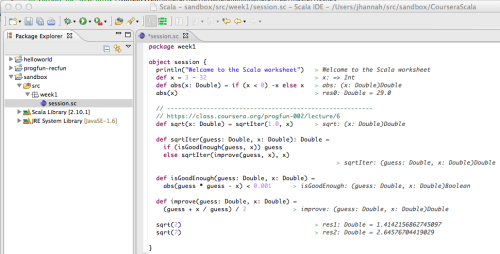 OK, I usually hate IDEs. But I have to give the Scala IDE (Eclipse) credit: Scala Worksheets are pretty freaking awesome!  Infinite loops create a little ASCII swirly thing in the Worksheet. LOL