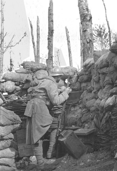 talesofwar:  A poilu is staying alert at the Bois-le-Prêtre. August 1916.