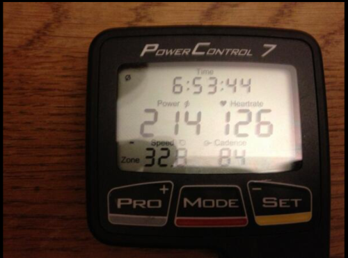 From Jens' twitter page, a look at his averages from his training ride today.
