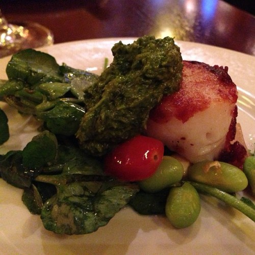 Pan-seared scallop with basil pesto, edamame and corn. cc @nyajoes #wwjce #dinner #scallop #watertown