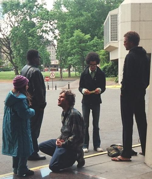 "zephyrstorm:       ""The Mars Volta and John were outside waiting for the van and just out of the blue my niece came to me and told me: "" I know what to say to John"" and I asked her what? and she said ""I love your music very much"" (up until that moment she hadn't spoken to him, she was very shy..)… and I said  that it was ok, but I didn't believe she was for real… but thank god I was mistaken!  She went to him and said :""John?""… he turned around and when he saw her he bent like in the picture… and then she told him ""I love your music very much"" and John started to reply to her but she didn't understand him (she couldn't speak in english at that time!! she only knew how to say those words!!)…. so I explained to him the situation and so he did the most beautiful thing I have seen… he took her by the arm and said with words and gestures ""YOU (he pointed at her) MADE ME (he pointed at him) HAPPY (with his fingers ""drew"" a smile on his lips) -The story behind this picture, told by Silvina (photographer"