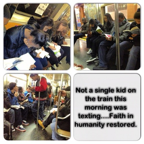 This was my morning train ride…..I don't know who these kids were, but damn they made me proud. #faithinhumanity #fihr #faithinhumanityrestored