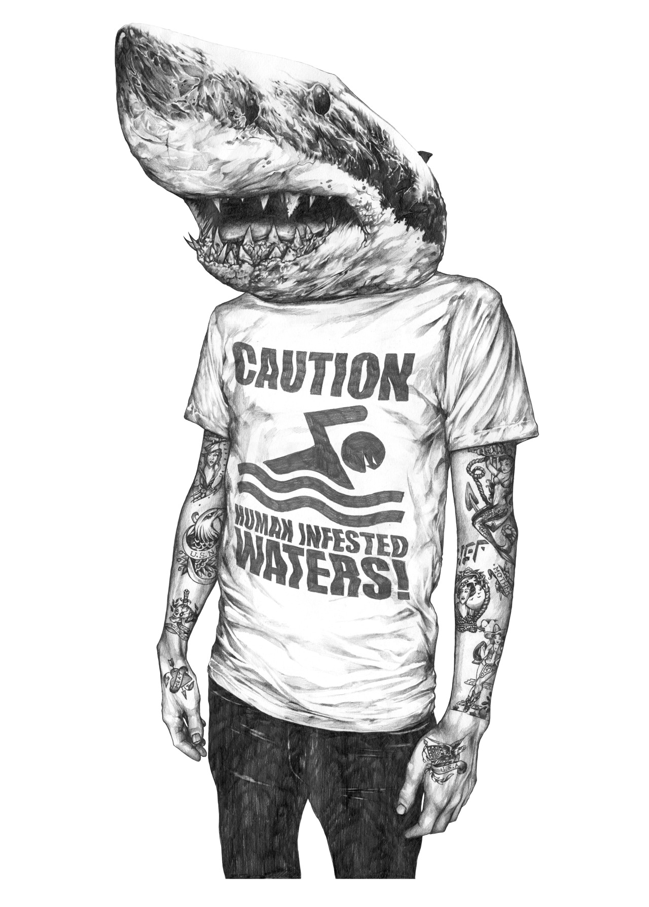 eatsleepdraw:  Shark Boy T Shirt Art, A2 cartridge paper with B Pencil