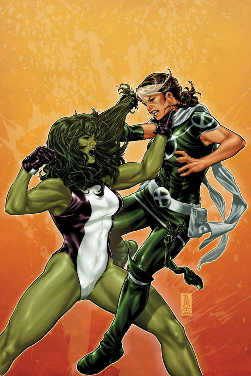 She-Hulk vs Rogue by Mark Brooks.