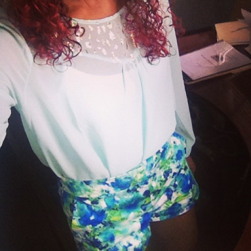 Obsessed with these shorts. #ootd #mint #glitter #selfie #shorts #flowers #blue #green #curlyhair #curls #redhair