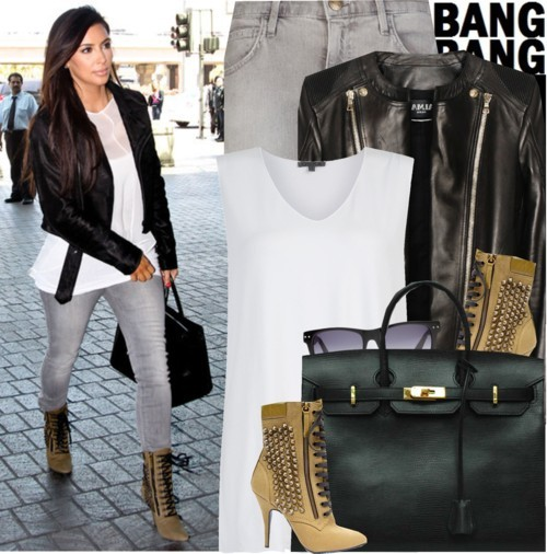 Celebrity Look: Kim Kardashian by marymary91 featuring a white shirtOska white shirt, $83 / Balmain  jacket, $4,670 / Current/Elliott current elliott jeans, $195 / Madewell retro sunglasses