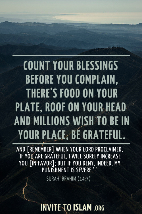 invitetoislam:  And [remember] when your Lord proclaimed, 'If you are grateful, I will surely increase you [in favor]; but if you deny, indeed, My punishment is severe.'  - Surah Ibrahim (14:7:)