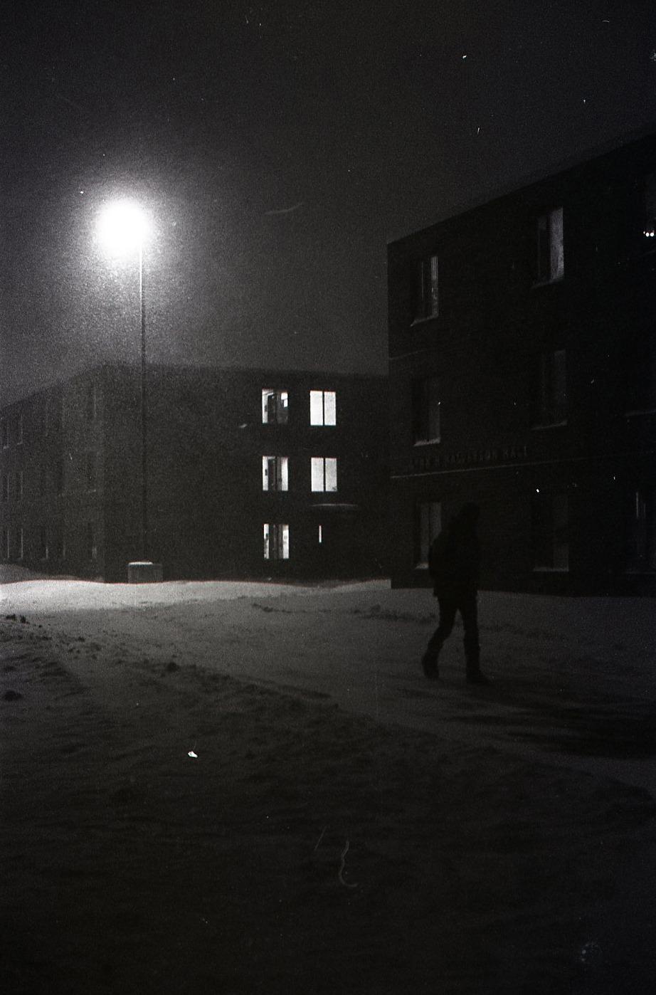 FeaturingPayne Hall  Pentax PS, 50mm @ F/?, MF Kodak TRI-X 400 BW,Scanned negative