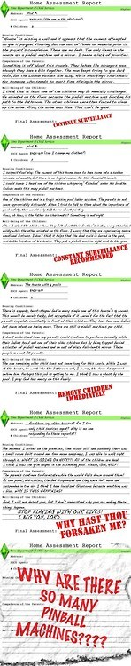 The Sims Child Protective Services Reports.  Hilarious!