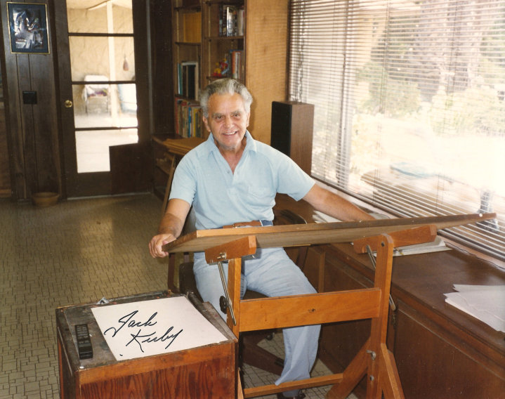 seanhowe:  Jack Kirby at his drawing board in California.