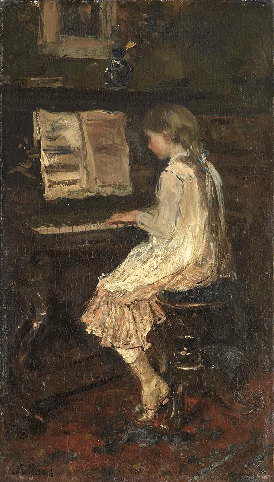 """Jacob Maris - """"Girl at a Piano"""" 1879"""