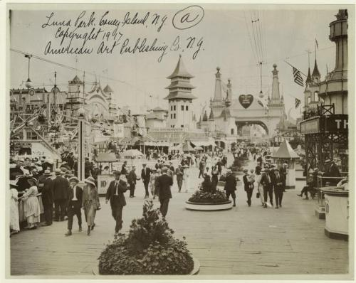 "Today in History Coney Island's Luna Park in opened today in 1903. This photo was taken shortly after the park opened, in 1907 (Courtesy of NYPL Digital Gallery.) DId you know that NYPL teamed up with Coney Island Brewing Company in Brooklyn to create a beer fit for a Founding Father – a porter based on George Washington's handwritten ""small beer"" recipe, which can be found in the Library's extensive collections. What's your favorite Coney Island attraction?"