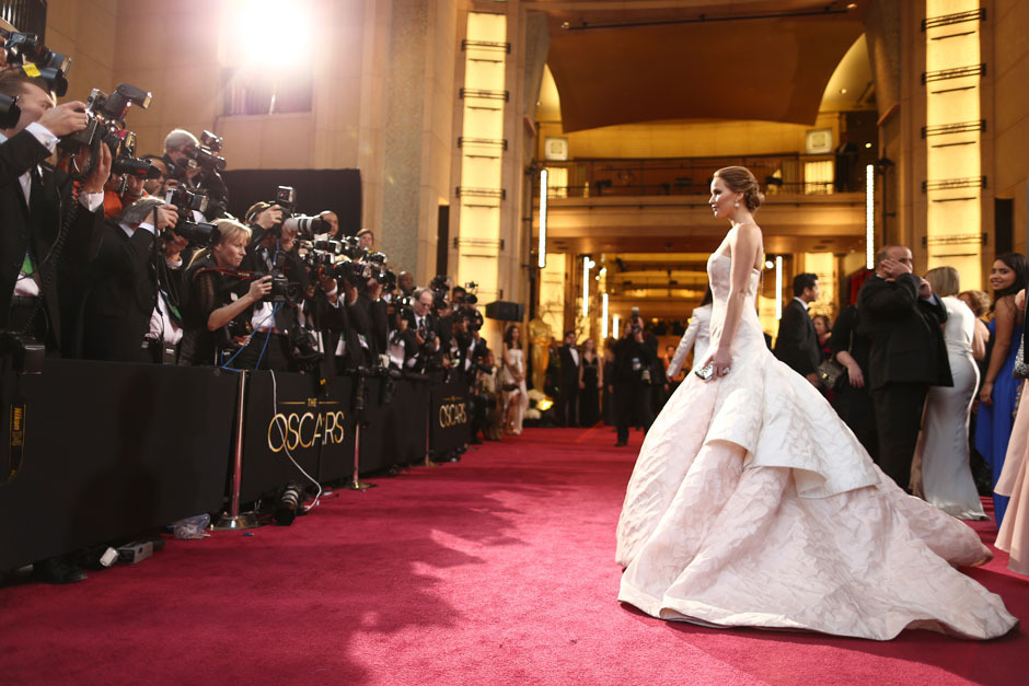 nparts:  From earlier tonight: Jennifer Lawrence on the red carpet. (Photo by Christopher Polk/Getty Images)More: http://natpo.st/XzvSrs