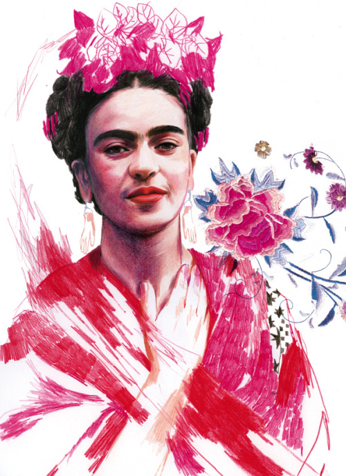 little-trouble-grrrl:  frida kahlo by montse bernal