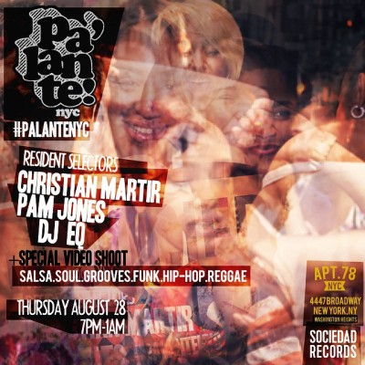 It has been an amazing summer for #PalanteNYC. We spent every week with you sharing some laughs, a few dances, some joints and most importantly culture. As we end our weekly residency and begin our monthly Fall and Winter (fuck you winter)  sessions, I want to see everyone come out and celebrate this Thursday. In addition to celbrating the end of a beautiul summer, I am excited to announce that we will be shooting a video for an upcoming release on  my Sociedad Records! It is being shot by a good friend who is working on documentary about Izzy Sanabria (the man who designed the Fania logo and almost all their iconic album covers). Definitely check him out @mrsalsamovie . look forward to seeing you all! Much love to @pam_jones  and @eurythmic_q  who have been an important  part of our success and growth and who I am lucky enough to share the tables with. #PalanteNYC #SociedadRecords #FuckWinter  (at Apt 78)