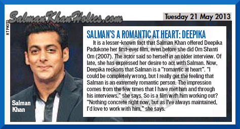 ★ (Different Version)  I'd Love To Work with Salman Khan : Deepika !!