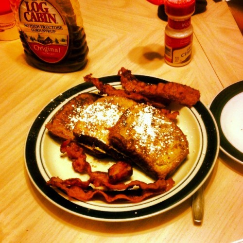 "Made ""Breakfast"" For Me N My Pops #FrenchToast #Bacon #Food #FoodSex #cinnamonbread #sugar #syrup #morebacon #demonicsdiner"