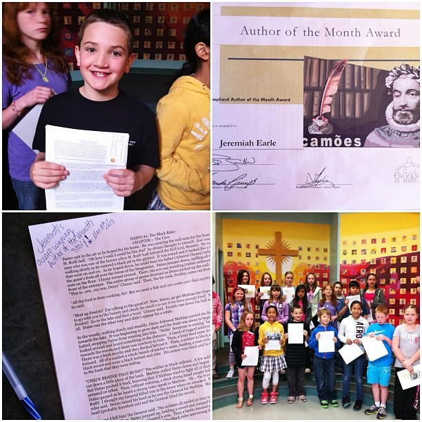 Miah won Author of the Month Award, so pleased with all his passion, creativity and hard work. I was excited that he wrote and that he won-he was excited cause he got a free lunch and drink at school, ahhh the good ol' days of being a kid!