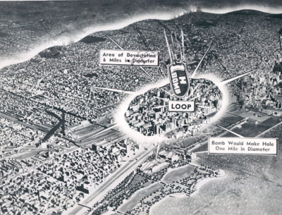 1954 graphic showing the effects of an h-bomb on downtown Chicago.