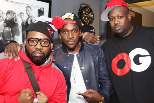 Raekwon, Pusha-T and DJ Clark Kent stopping by Fila's spring and fall '13 preview suit at the Barclays Center in Brooklyn, NY.