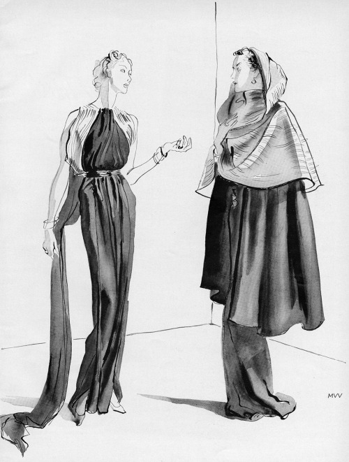 myvintagevogue:  Vogue September 1935 Illustration of gowns by Lanvin Conde Nast