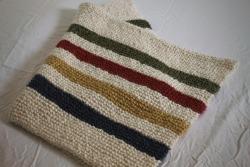 "a hudson's bay-inspired baby blanket i made for my new pal duncan. 36""x48"", acrylic yarn, garter stitch"