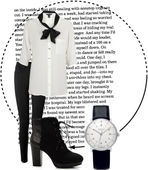 black/white von lauraaa4kiss, junghans watches enthaltendMarc by Marc Jacobs silk tie neck blouse, $76 / rag & bone skinny leg pants / Platform bootie / Junghans  watch, $1,230