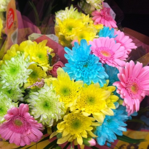 Beautiful flowers in tesco! :O never been one for petrol station bouquets but these are gorge! #flowers #spring #easter #colourful