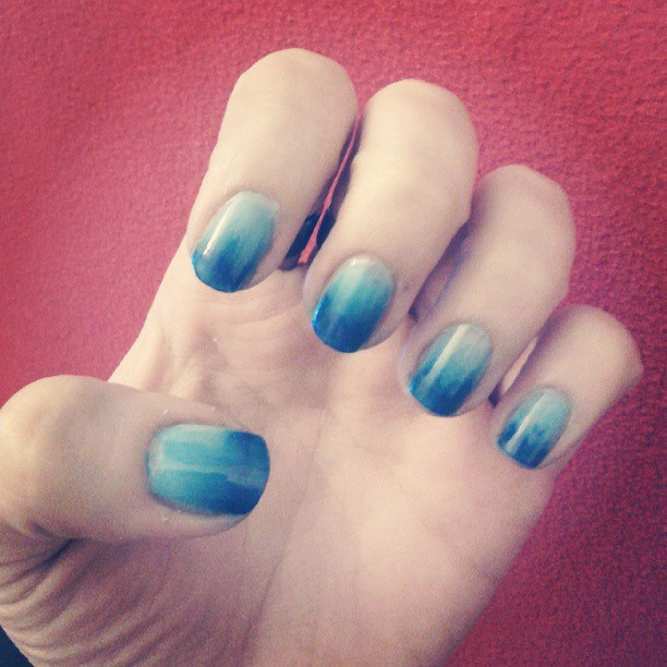 I have oceanic nails. (Very first ombre!) #nail http://bit.ly/17mbdjK