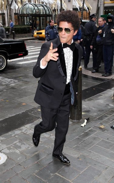 "Bruno Mars arriving at the TODAY show in NYC this Tuesday morning for his performance of ""Locked Out Of Heaven"""
