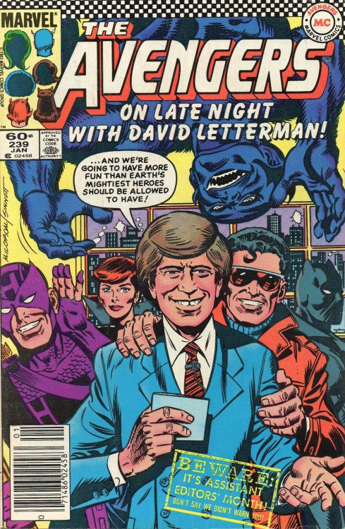 The Avengers on Late Night with David Letterman by Al Milgrom & Joe Sinnott (from Avengers #239)