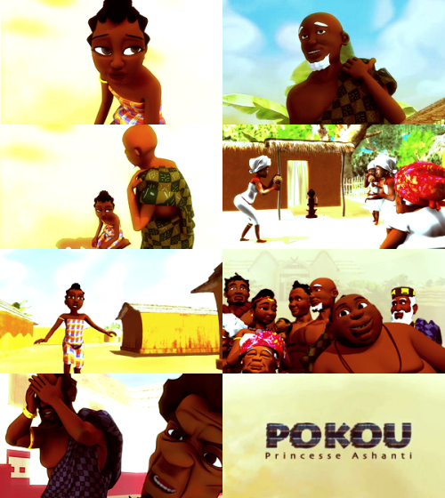sarraounia:  Pokou Princesse Ashanti, the first 3D animation movie from Cote d'Ivoire produced by Afrikatoon. Synopsis: Abla Poku is an eighteenth-century Princess from the kingdom of the Ashanti people. She is an influential advisor to King Opokou Ware. One day, she learns that the King's best friend, Kongouê Bian is plotting a coup against him to take the throne. Poku, refusing to see a war between her people uses her charisma and mystical powers to avoid the conflict. She unfortunately fails and is forced to live under the regime imposed by Kongouê Bian. Refusing to live under his rule, she chooses exile. Despite her departure, the current King decides to chase her, following a prophecy stating that a woman will lead the kingdom, something he doesn't want to see happen. Abla Poku or Abena Pokua, Abraha Poukou or Aura Poku is a Princess who existed. She is known among the Ashanti people and is part of the History of Côte d'Ivoire where she is considered the mother of the Baoulé people, one of the main Ivorian ethnic groups. Release date: Summer 2013.