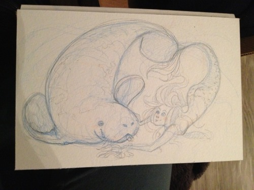 allysonkelleyillustration:  Just started sketching this up. The Manatee and the Mermaid.   And I have rediscovered my love for manatees. They are so gentle and huge that I just want to huge them!!! Aghhhh!  can't wait to see this finished! :D