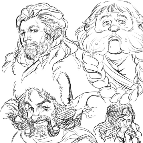 Fili, Bombur, Bofur, and Kili. rough sketch just to get the feeling of drawing them.