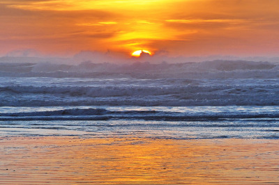 Ocean Park Sunset: What's it mean when the waves swallow the sun on Groundhog Day? (Photo by Jim Culp)