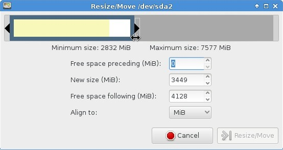 Resize the partition