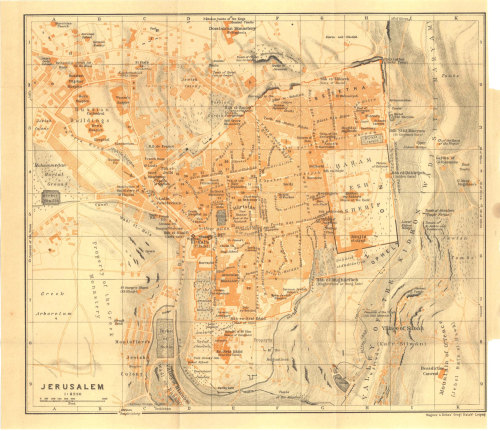 Ancient Jerusalem Map  1912 Karl Baedeker at CarambasVintage http://etsy.me/YGdvWa