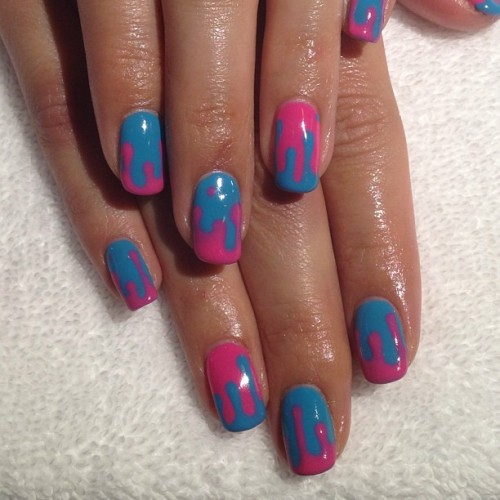 Drippy #gel manicure #nailart #lbc  (at Hey, Nice Nails!)