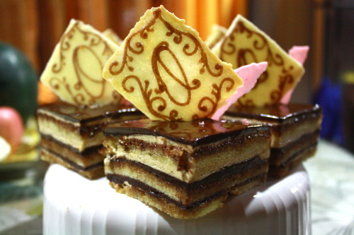 O is for Opera Cake! :) Perfect cake for New Year! :) Happy New Year my Followers!! I hope each and everyone will seize this year and be happy :)