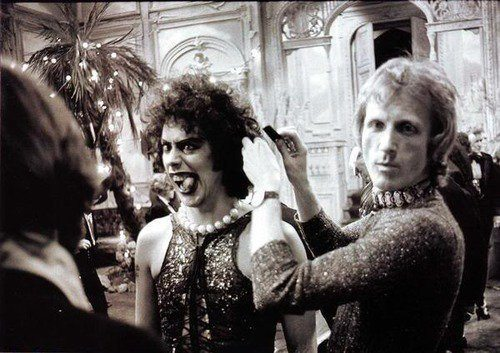 suicideblonde:  on the set of Rocky Horror Picture Show