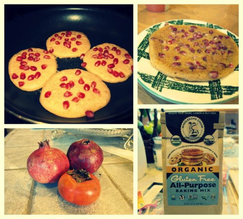 Pomegranate-Persimmon Holiday Pancakes Vegan, Gluten-free, sugar-free option, yummy, and look how cute they are! =)  Happy Holidays everyone! I am alive, well, and sleeping A LOT this week. I'm on winter break and planning to do lots of blogging =) First off, here's a recipe I made for breakfast.  1/2 cup Wholesome Chow all-purpose gluten-free baking mix  1/2 cup unsweetened almond milk  1 persimmon Seeds of 1 pomegranate  Water Cooking Spray Brown sugar (sprinkled on top as an optional topping). Directions: Mix equal amounts of almond milk and baking mix. I used 1/2 cup of each. Then chop and blend the persimmon and 1/2 cup of water in a food processor. Add the persimmon puree to the mix. Heat pan or griddle with cooking spray. Spoon mix onto pan. Sprinkle on pomegranate seeds. Cook each side for about 2 minutes. Use brown sugar or a bit of maple syrup as a topping.  I had a sample of pumpkin pancakes made with Wholesome Chow's baking mix at New Leaf Grocery stores (alternative Whole Foods in northern California) and thought it was really tasty and handy. All you really need to do is add almond milk to make some pancakes! Also, my new favorite Almond Milk brand is Califia Farms. They use pretty much all the same ingredients and preservatives as Silk, Almond Breeze, and Trader Joes, but it somehow it tastes smoother and fresher. It was on sale one day at Andronico's (reason why I'm broke) and I decided to try it…needless to say I fell for the gimmick and now I'm hooked. I buy it even when it's full priced for $4.49! -___-  I love this recipe because the persimmons add natural, understated sweetness and a soft texture. Therefore, you don't need to add any sugar or butter to make delicious, fluffy pancakes! I haven't been eating much dairy so I appreciate simple recipes like this that doesn't use fake butter or margarine (exceptions for dairy & eggs for my friends' home-made baked goods infused with love and the amazing ice cream I just tried from Bi-Rite Creamery omgodddzz…good thing this place practices moderation through expensive prices and small scoops!). TIP: Open pomegranates in a big bowl of water. The seeds will sink and the outside bits will float to the top! Learned this from my roomie! I miss you guys, talk to me! I have lots of ideas and too little time. But, try this recipe out…persimmons and pomegranates are in season! They look festive and I'm sure the whole family will enjoy them.  Merry Christmas my lovely friends. Let me know what's challenging for you during the holidays and we can write a post about it!  <3 Geralds