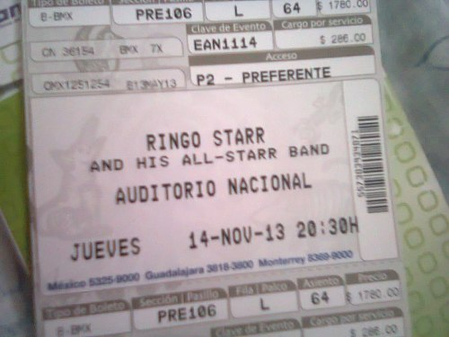 My ticket to see Ringo on November 14 :3