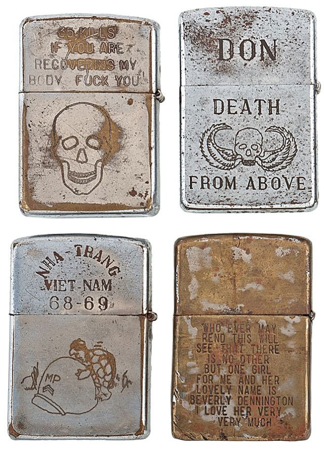 ohjeffreyno:  Engraved Zippo lighters from the Vietnam War. From Cowan's Auctions