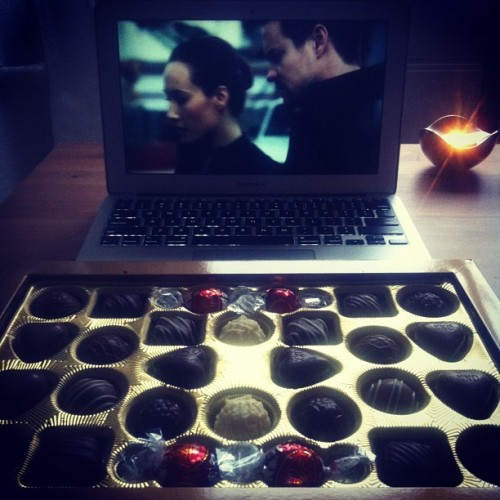 Friday night. Nikita and chocolates. ;-)ikita