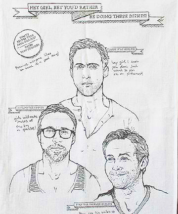 WATCH RYAN GOSLING GIGGLE WITH EMBARRASSMENT AT HIS IMAGE ON A DISHTOWELby Blaire Bercy http://bit.ly/VT6fEx